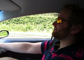 ESM's fearless roving photographer and driver for the day. Two hands on the wheel of course.