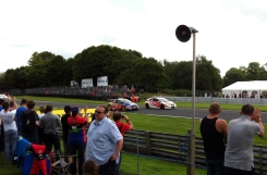 Crowd congratulates the victorious Matt Neal, with second place Andrew Jordan alongside.