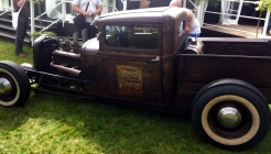 Crazy rat-rod pickup truck. Exposed fuel tank in the back means no smoking whilst driving!