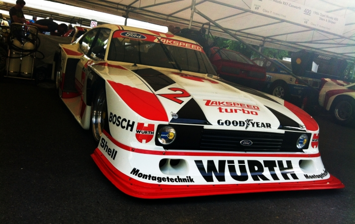 Is it a bird, is a plane? No, it's a 1981 Zakspeed Ford Capri; driven at Goodwood by Klaus Ludwig