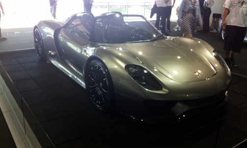 Porsche 918 Spyder - 4.6 litre V8 with 2 electric motors, giving a total of 850 bhp.