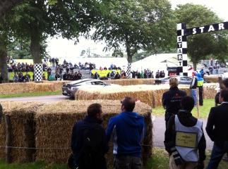 Aston Martin V12 Zagato burbles down to the start line