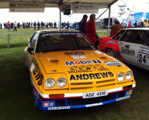 A distinctive livery for the Opel Manta 400. Driven by Russell Brookes at the FoS as it was back in 1985.