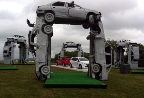 """Skoda's """"car-henge"""" creation, marking the top of the hill."""