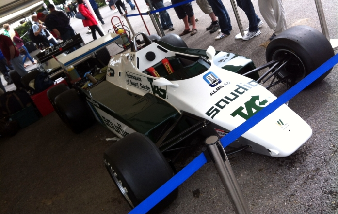 Being driven by Bruno Senna at Goodwood, the 1983 Williams-Cosworth FW08C.