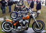 Custom chopper action. Posing promo girl just out of shot to the left, hence the stares from onlookers!