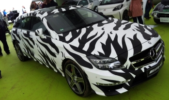 The new Mercedes-Benz CLS Shooting Brake AMG, cunningly disguised as a Zebra. A twin turbo V8-powered Zebra that is.