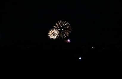 Saturday night fireworks viewed from Campsite E.