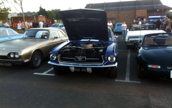 Another Mustang shows off its motor.