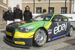 eBay Motors' BMW 1-series with drivers Rob Collard, Nick Foster and Colin Turkington. Image courtesy of btcc.net