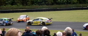 Frank Wrathall clings on to his sideways Avensis.