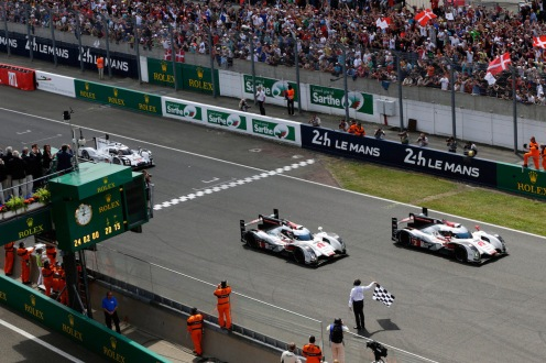Formation finish for first and second placed Audis