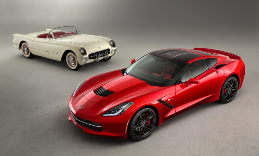 C7 Stingray meets 60 year old C1 Corvette.