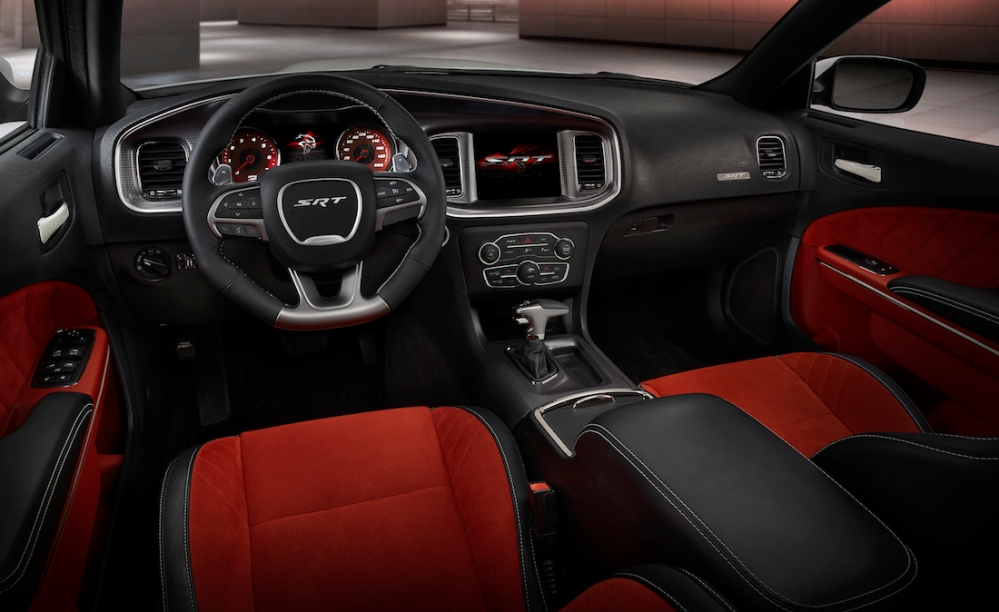 2015 Dodge Charger SRT Hellcat (shown in Ruby Red Alcantara suede/black leather)