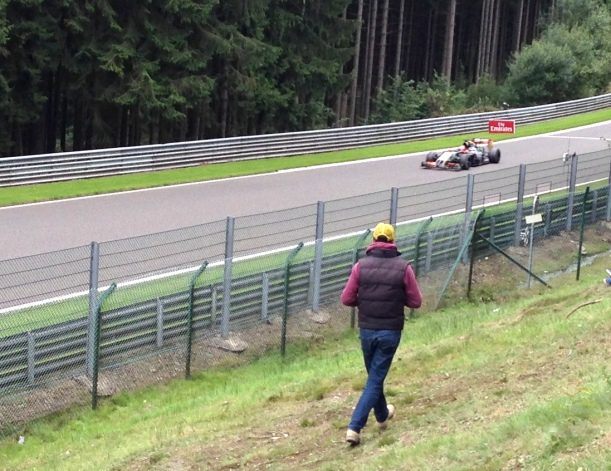 Sergio Perez fires out of the trees