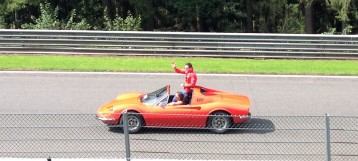 Bianchi waves to the crowd at Spa 2014