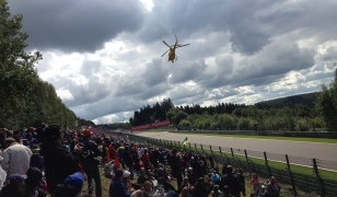 Helicoper chasing cars on formation lap